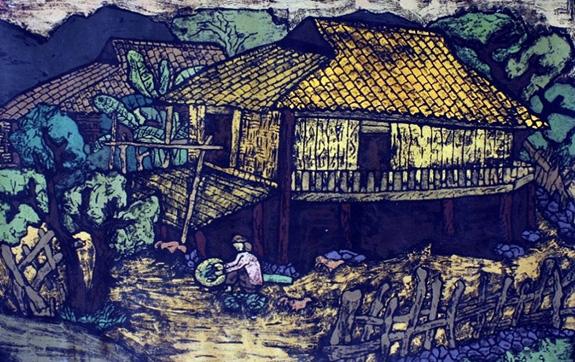 Trưng bày tranh khắc gỗ và áo dài in tranh đồ họa tại Bảo tàng Mỹ thuật Việt Nam  - Ảnh 1.