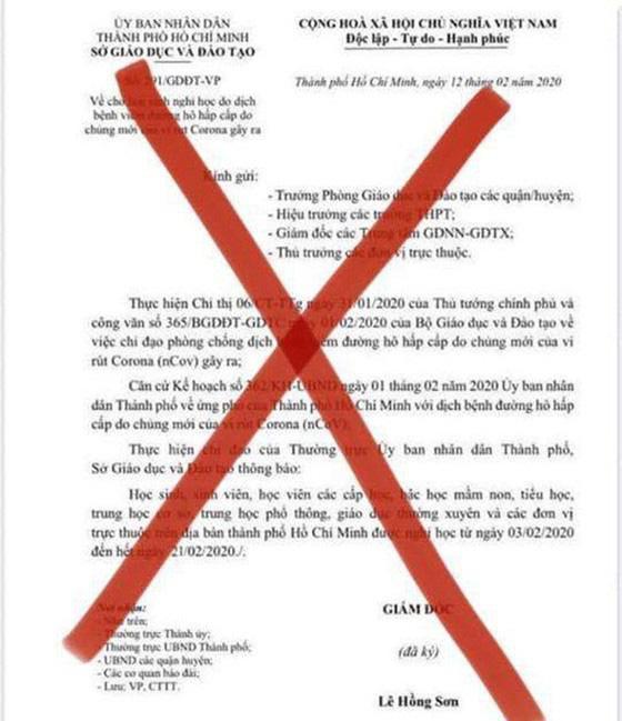 Lan truyền văn bản giả mạo của Sở GDĐT TP.HCM về cho học sinh nghỉ học do dịch nCoV - Ảnh 1.