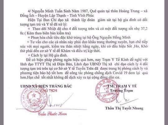 Đề nghị cách ly 4 người từ Vĩnh Phúc vào Quảng Nam làm việc - Ảnh 1.