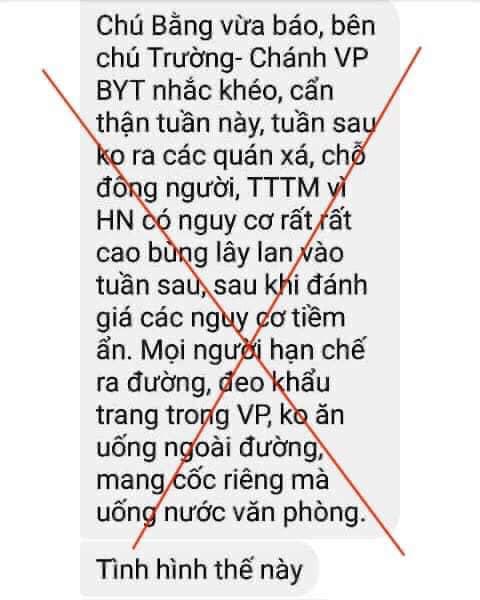Chánh Văn phòng Bộ Y tế cảnh báo về dịch Covid-19 ở Hà Nội: Chỉ là tin giả - Ảnh 1.