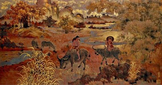 Vẻ đẹp thanh bình của thiên nhiên trong tranh sơn mài của Phạm Hậu - Ảnh 3.