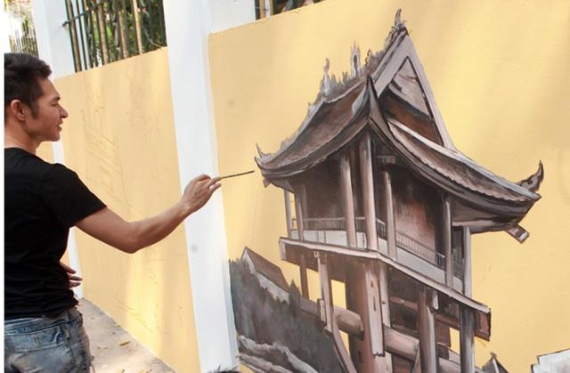 Hà Nội: Nhiều người ngỡ ngàng trước bức tường cũ kỹ trên phố Phan Đình Phùng được khoác áo mới - Ảnh 5.