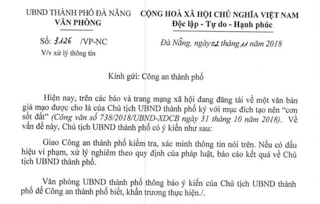 """Vụ làm văn bản giả để tạo """"cơn sốt đất"""": Chủ tịch Đà Nẵng chỉ đạo """"nóng"""" - Ảnh 1."""