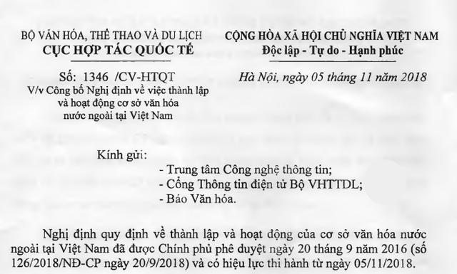 Thông tin về Nghị định quy định thành lập và hoạt động cơ sở văn hóa nước ngoài tại Việt Nam - Ảnh 1.