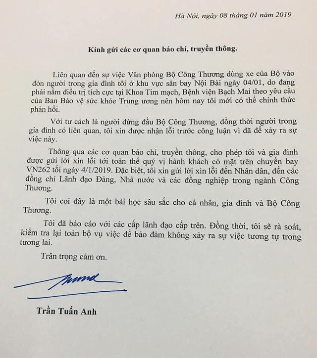 Người đứng đầu Bộ Công thương viết thư gửi báo chí, xin lỗi Nhân dân và Lãnh đạo Đảng, Nhà nước - Ảnh 1.