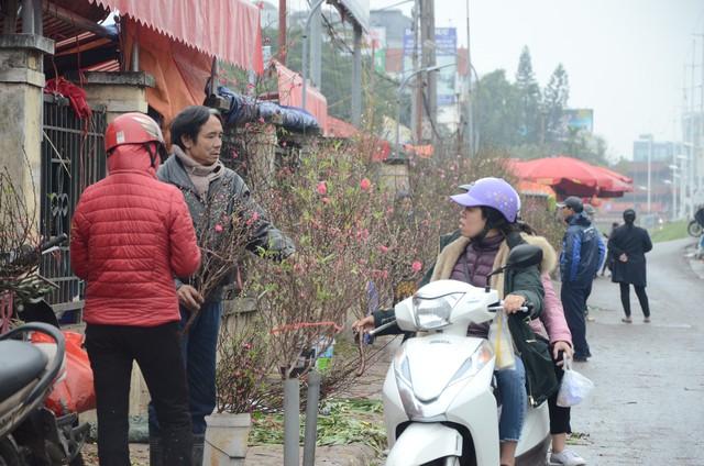 Bất chấp mưa lạnh, người Hà Nội vẫn tìm về chợ hoa Quảng Bá để chơi đào sớm - Ảnh 4.