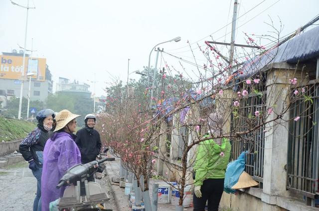 Bất chấp mưa lạnh, người Hà Nội vẫn tìm về chợ hoa Quảng Bá để chơi đào sớm - Ảnh 7.