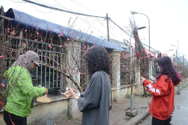 Bất chấp mưa lạnh, người Hà Nội vẫn tìm về chợ hoa Quảng Bá để chơi đào sớm - Ảnh 10.