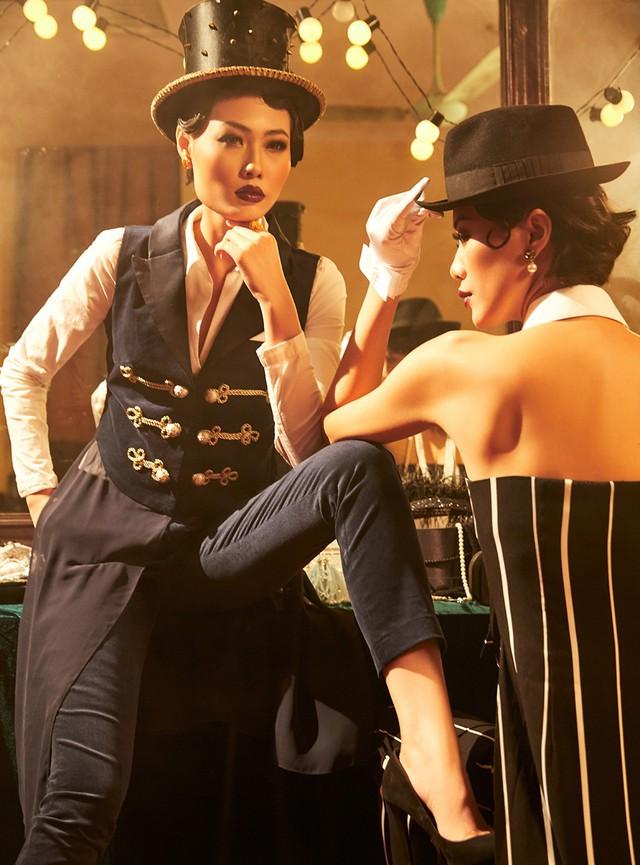 Quán quân Next Top Model Mai Giang mặc áo dài lấy cảm hứng từ tuxedo  - Ảnh 3.