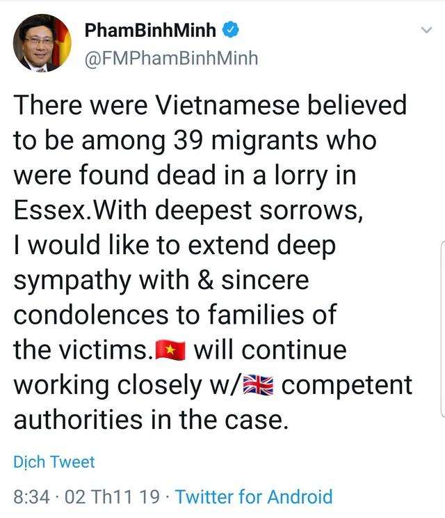 Phó Thủ tướng Phạm Bình Minh gửi lời chia buồn tới gia đình nạn nhân vụ 39 người chết ở Anh - Ảnh 1.
