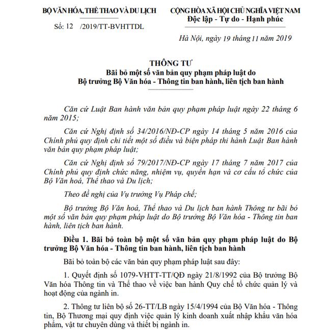 Bộ VHTTDL bãi bỏ toàn bộ 9 văn bản quy phạm pháp luật kể từ ngày 15/01/2020 - Ảnh 1.