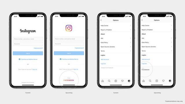 Facebook thay đổi logo mới trên ứng dụng con - Ảnh 1.