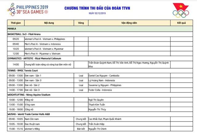 Lịch thi đấu ngày thi đấu thứ 2 SEA Games 30: Tiếp tục tìm vàng ở Wushu, Kurash - Ảnh 1.