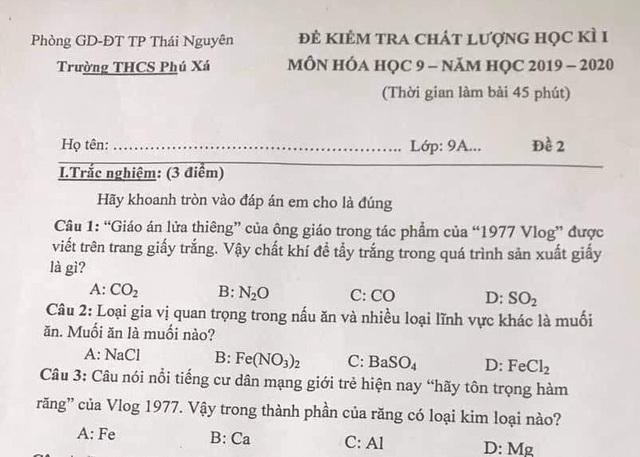 """Đưa hiện tượng """"1977 vlog"""" vào đề thi môn Hóa học lớp 9, mạng xã hội dậy sóng - Ảnh 2."""