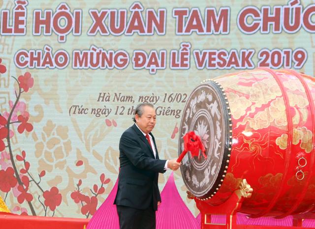 Phó Thủ tướng Trương Hòa Bình đánh trống khai hội chùa Tam Chúc - Ảnh 1.