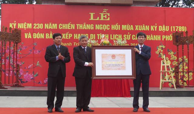 Khu di tích kỷ niệm chiến thắng Ngọc Hồi đón nhận Bằng xếp hạng di tích lịch sử cấp Thành phố - Ảnh 1.