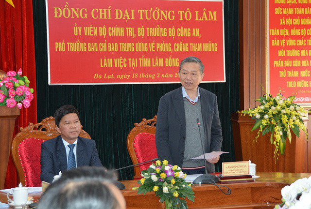 Đại tướng Tô Lâm làm việc với Tỉnh ủy Lâm Đồng về công tác phòng, chống tham nhũng - Ảnh 1.