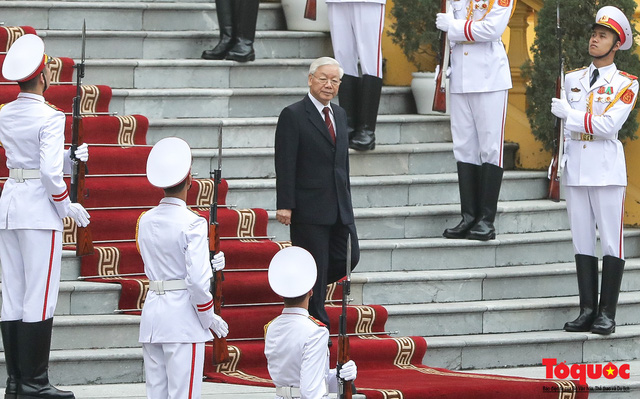 Tổng Bí thư, Chủ tịch nước Nguyễn Phú Trọng chủ trì Lễ đón chính thức Quốc vương Brunei thăm cấp Nhà nước tới Việt Nam - Ảnh 4.