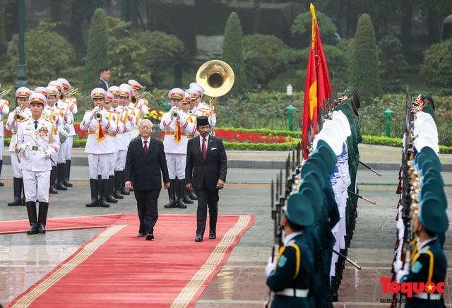 Tổng Bí thư, Chủ tịch nước Nguyễn Phú Trọng chủ trì Lễ đón chính thức Quốc vương Brunei thăm cấp Nhà nước tới Việt Nam - Ảnh 8.