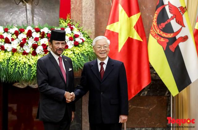 Tổng Bí thư, Chủ tịch nước Nguyễn Phú Trọng chủ trì Lễ đón chính thức Quốc vương Brunei thăm cấp Nhà nước tới Việt Nam - Ảnh 10.