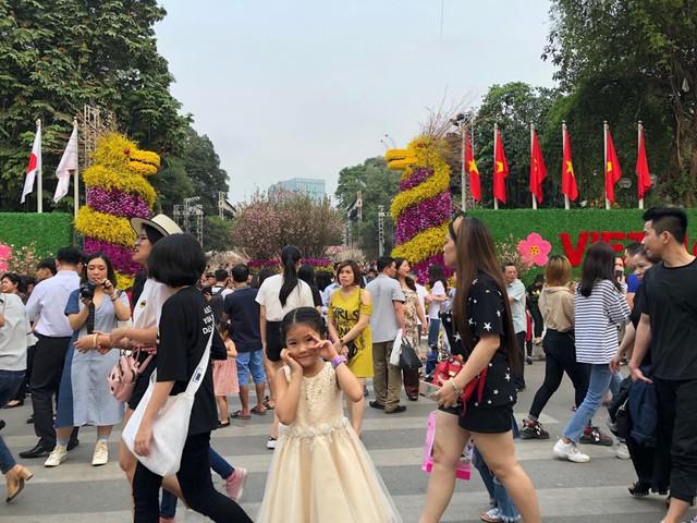 Khách thích thú với trải nghiệm tại lễ hội hoa anh đào ở Hà Nội - Ảnh 1.
