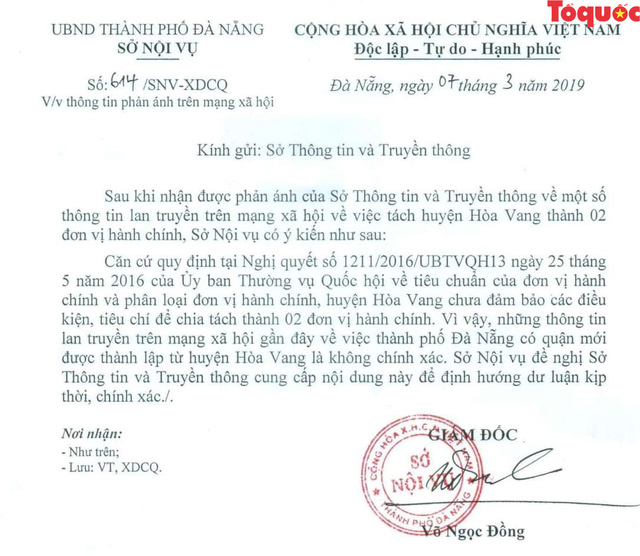 Đà Nẵng: Không có chuyện huyện Hòa Vang tách thành 2 đơn vị hành chính - Ảnh 1.