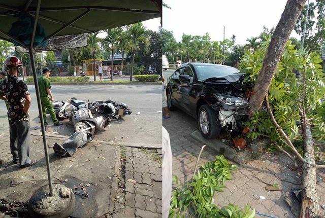 Xế hộp hạ gục 3 xe máy trước khi đâm vào gốc cây bên vệ đường - Ảnh 1.