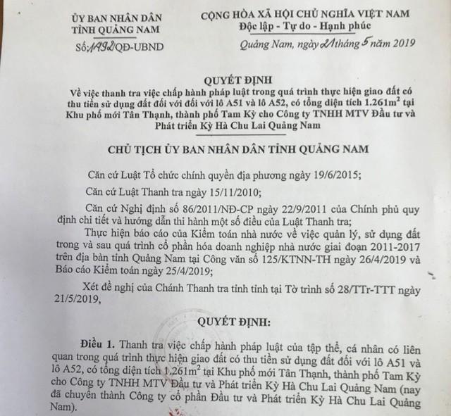 """Quảng Nam thanh tra thửa đất """"vàng"""" hiện do vợ của nguyên Bí thư Tỉnh ủy sở hữu - Ảnh 1."""