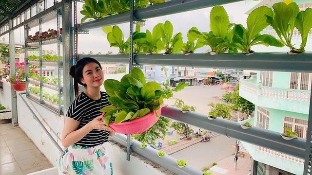 Vườn rau thủy canh ăn không xuể trên sân thượng nhà diễn viên Kha Ly - Thanh Duy - Ảnh 5.