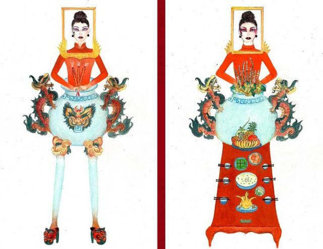 Thật khó tin khi mẫu trang phục Bàn thờ đứng thứ hai bình chọn cho Hoàng Thùy thi Miss Universe - Ảnh 2.