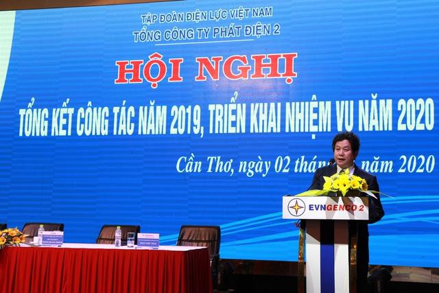 Ông Trương Hoàng Vũ, Thành viên HĐTV kiêm Tổng Giám đốc EVNGENCO 2 phát biểu tại hội nghị.