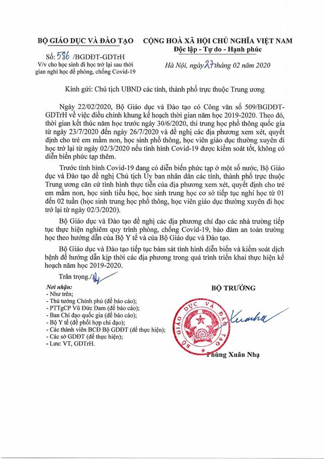 Bộ GDĐT đề nghị cho học sinh đi học trở lại từ ngày 02/3 - Ảnh 1.
