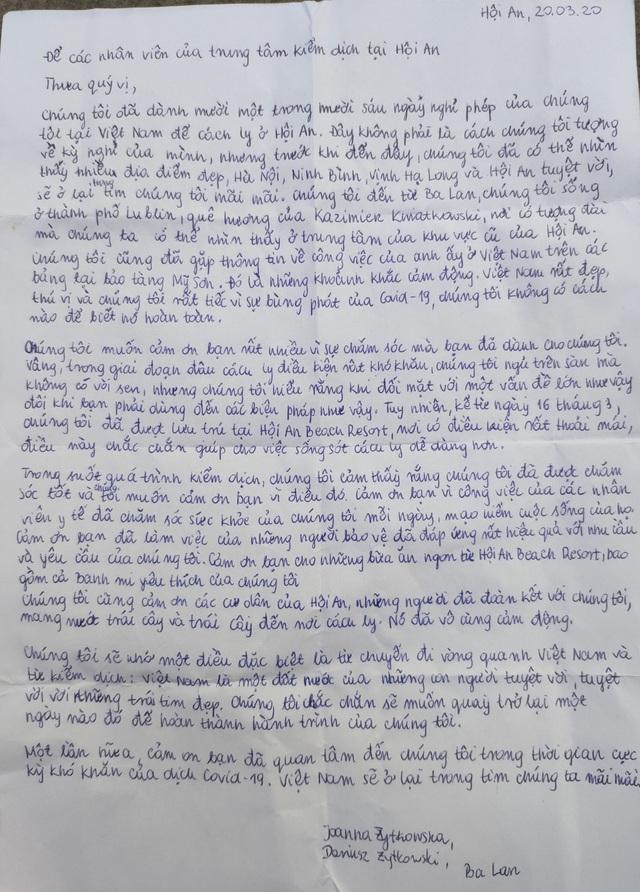 Bức thư xúc động của du khách Ba Lan gửi nhân viên y tế sau khi hết thời hạn cách ly - Ảnh 1.