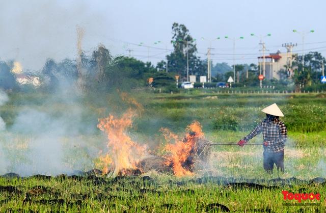 Nông dân lại đốt rơm rạ, khói bụi đang bủa vây ngoại thành Hà Nội - Ảnh 10.