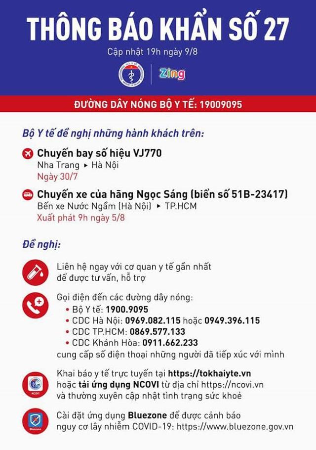 Thông báo khẩn: Bộ Y tế tìm hành khách trên chuyến bay VJ770 (ngày 30/7) và xe khách Ngọc Sáng từ Hà Nội đi TPHCM (ngày 5/8) - Ảnh 1.