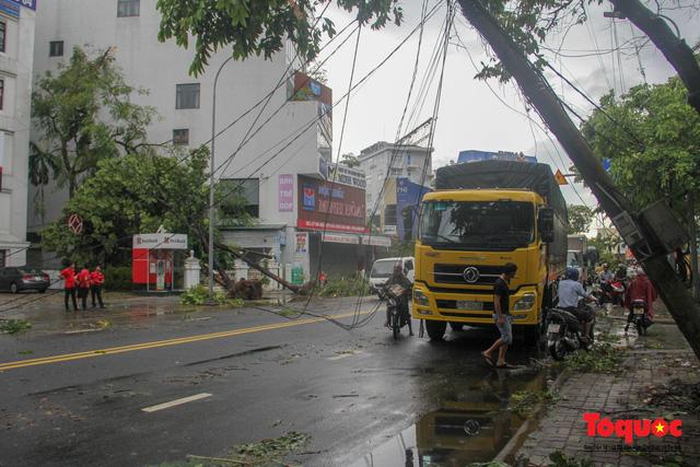 Gió to, mưa lớn, nhiều cây xanh tại TP Huế ngã đổ do bão số 5 - Ảnh 15.