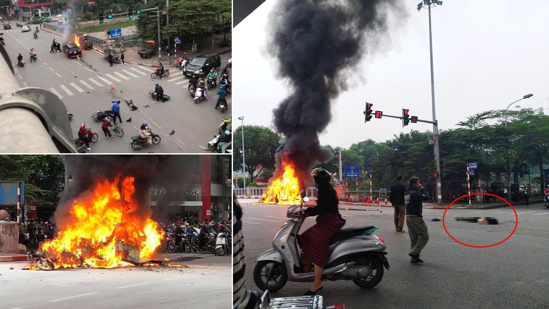 Clip: Cận cảnh xe Mercedes bốc cháy dữ dội trên phố Hà Nội sau cú đâm kinh hoàng  - Ảnh 5.