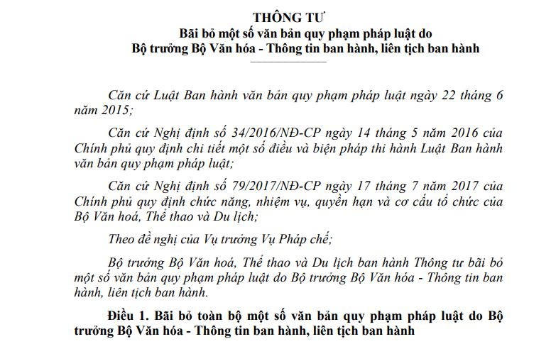 Bộ VHTTDL bãi bỏ toàn bộ 9 văn bản quy phạm pháp luật kể từ ngày 15/01/2020