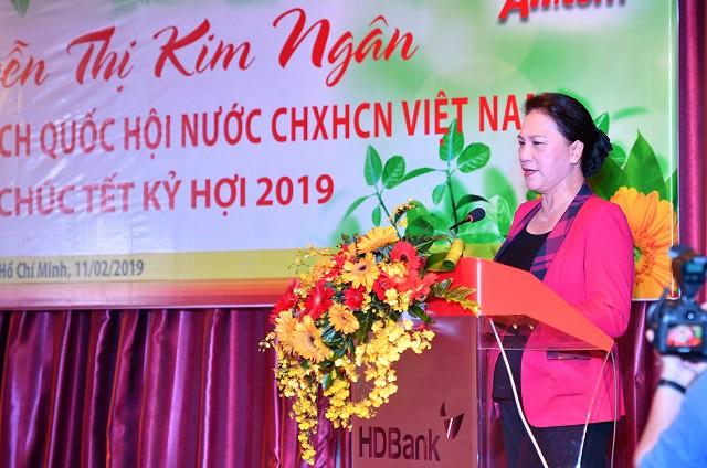 Chủ tịch Quốc hội Nguyễn Thị Kim Ngân thăm, chúc Tết HDBank, Vietjet Air đầu năm Kỷ Hợi - Ảnh 1.