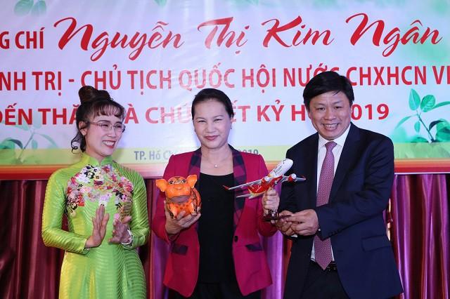 Chủ tịch Quốc hội Nguyễn Thị Kim Ngân thăm, chúc Tết HDBank, Vietjet Air đầu năm Kỷ Hợi - Ảnh 2.