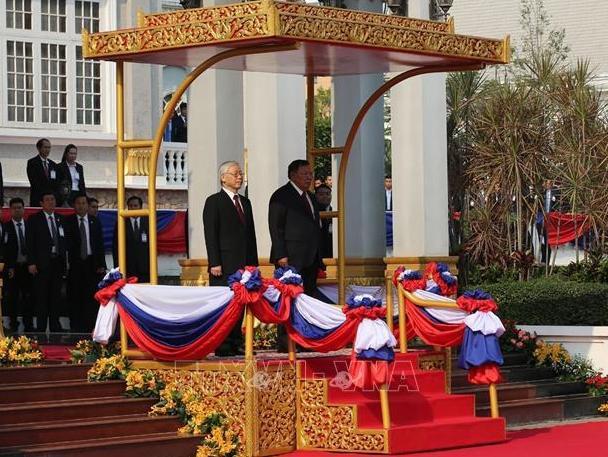 Tổng Bí thư, Chủ tịch nước Nguyễn Phú Trọng hội đàm với Tổng Bí thư, Chủ tịch nước CHDCND Lào - Ảnh 2.