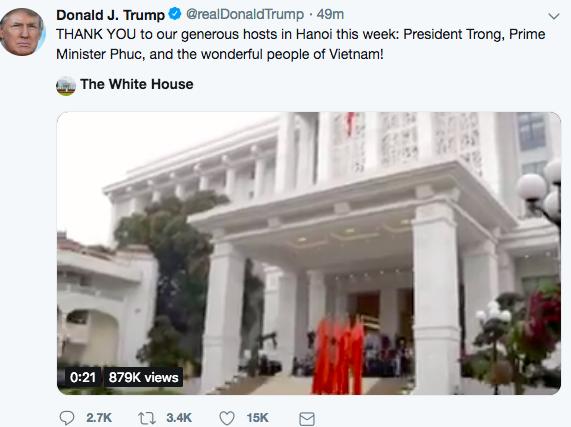 Đây là điều Tổng thống Trump không thể không tweet về Hà Nội, ngay cả khi đang ở trên máy bay - Ảnh 1.
