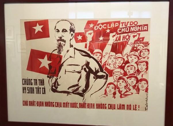 Xúc động với hàng trăm bức chân dung Chủ tịch Hồ Chí Minh qua tranh cổ động - Ảnh 3.