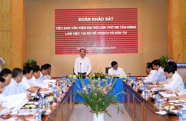 Đoàn Tiểu ban Văn kiện làm việc với Ban cán sự đảng Bộ KH-ĐT  - Ảnh 1.