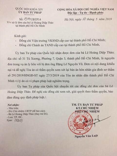 Bà Lê Hoàng Diệp Thảo gửi đơn tới Ủy ban Tư pháp của Quốc hội và Văn phòng Chủ tịch nước đề nghị xem lại bản án ly hôn - Ảnh 2.