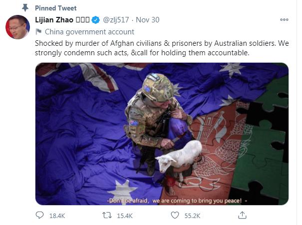 """""""Tiếp sức"""" ngoại giao chiến lang, Trung Quốc hé lộ thông điệp thực sự sau vụ đăng ảnh lính Australia - Ảnh 1."""