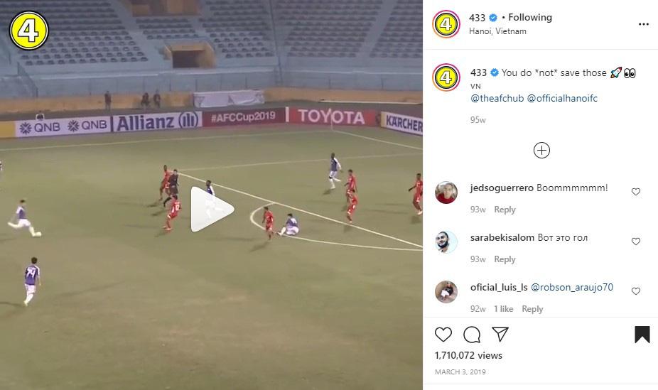 Tạp chí bóng đá hàng đầu thế giới đăng tải clip bàn thắng của Quang Hải - Ảnh 2.