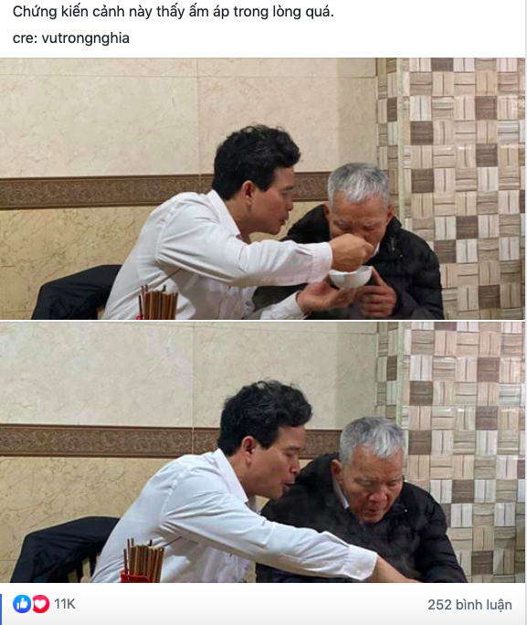 """Hình ảnh người con trai lớn tuổi đút từng thìa bún rồi động viên """"bố cố ăn hết bát này nhé"""" khiến nhiều người nghẹn ngào - Ảnh 1."""