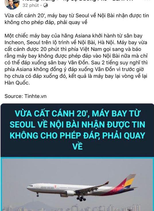 Cục hàng không xác nhận một chuyến máy bay Hàn Quốc đến Nội Bài rồi quay về nước - Ảnh 1.