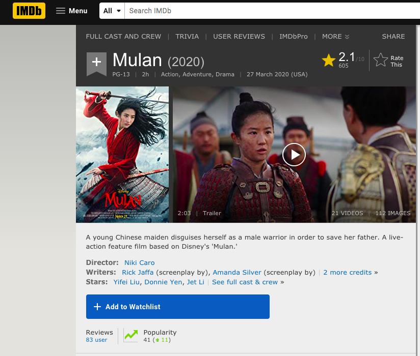 """""""Mulan"""" của Lưu Diệc Phi bị chấm 2/10 điểm, trở thành nồi lẩu thập cẩm đáng thất vọng của Disney?  - Ảnh 2."""